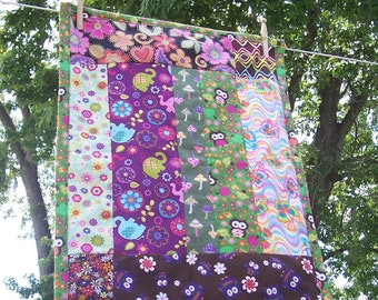 "Fairy Forest Owl Mini Quilt for Baby - Groovy Fairy Forest Animal Owl Patchwork Quilt - Tummy Time - 21"" x 28"""