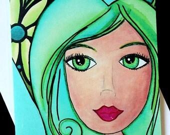 Fairy Cards, Note Cards, Artist cards, handmade item, original art, A7, 5x7 cards, Emerald