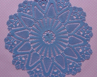 Blue handmade crochet doily No.1