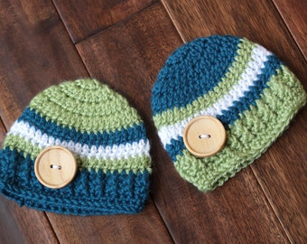 Twins lisiting of Adorable Striped Baby Hat with Wooden Button