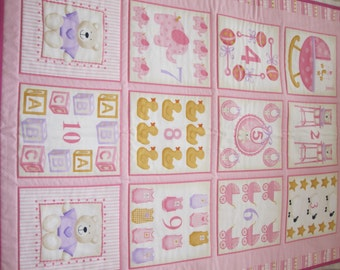 1,2,3 child's quilted play mat (pink)