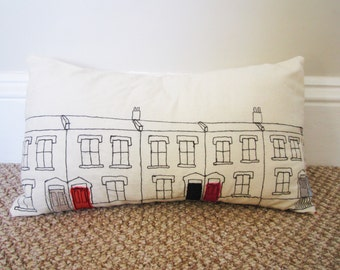 Embroidered Pillow/Embroidered Houses/Decorative Pillow/Throw Pillow Cover/Housewares/Home Decor/Appliqued Cushion