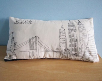 Throw Pillow Cover / New York Skyline / Decorative Pillow / Embroidered Pillow / Housewares / Home Decor