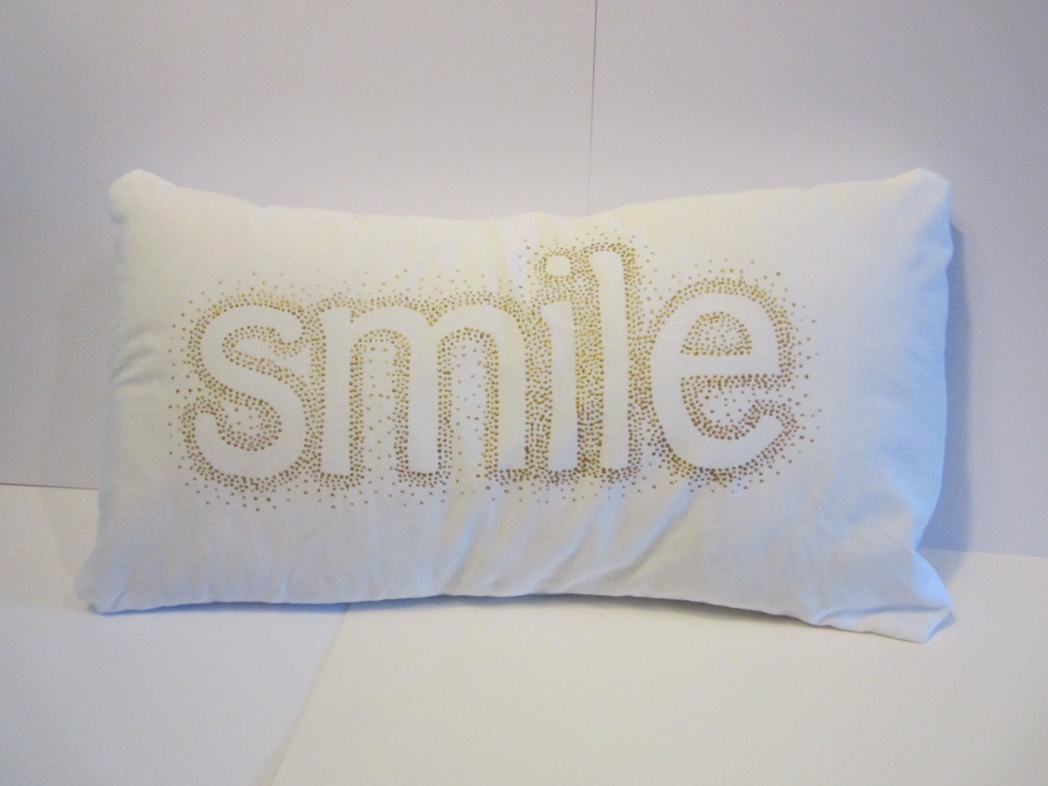 White Gold Throw Pillow : Smile Pilow Throw Pillow Cover White and Gold by emilykatemakes