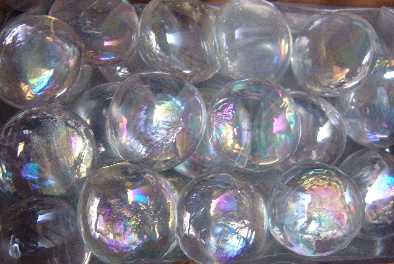 20 Large Clear Iridized Glass Gems Stones Mosaic Pebbles