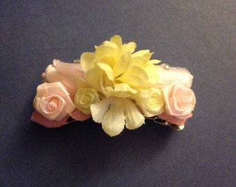 Floral barrette, vintage boho flower clip
