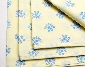 Napkins Blue Flowers on Beige Cotton Set of 4