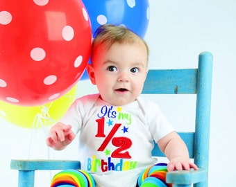 Happy 1/2 Birthday - Boys Colorful Half Birthday Applique White shirt or Bodysuit