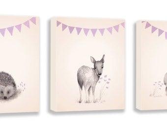 Girls Nursery Art - Woodland Nursery Decor - Set of 3 Canvas Art - Canvas Art for Kids - Purple and Gray - Hedgehog - Rabbit - Deer - S035B