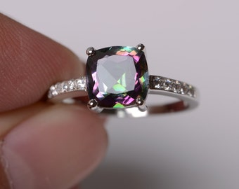 Mystic topaz ring sterling silver ring engagement ring cushion cut ring