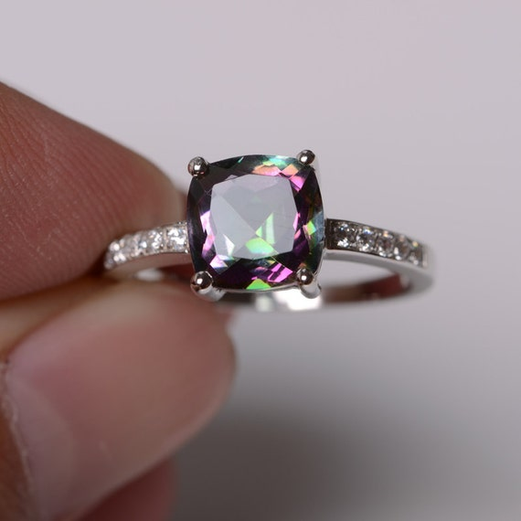 topaz wedding ring mystic topaz ring sterling silver ring engagement ring cushion 8030