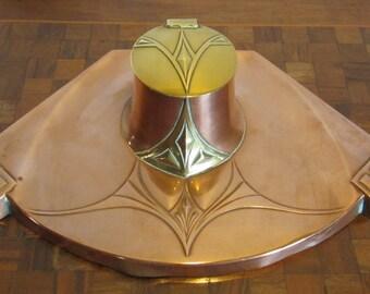 Antique art nouveau WMF inkwell, brass and copper; Jugendstil, ca 1910, Germany