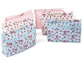 Blue Floral Craft Knitting Needlework Storage Bag with fooden handles