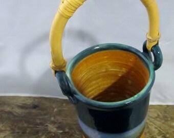 Vintage Sea Blue Clarksville Hand Thrown Pottery Vase - wooden handle - sandy bottom -lead-free, food-safe, oven, microwave, dishwasher safe