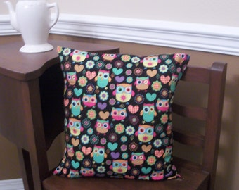 CLOSEOUT!! Owls, Flowers and Hearts Bright Decorative Throw Pillow Cover 16 x 16