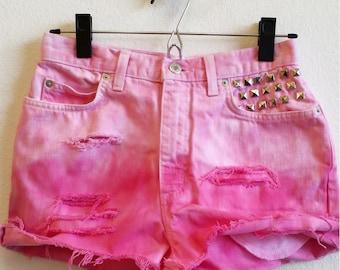 High Waist Vintage Retro Glam Festival Rave Hipster Pink Distressed, Dyed, Studded Cut Off Denim Shorts