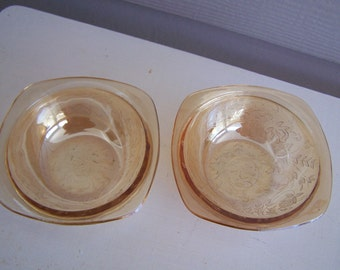 Pair of Two (2) Peachy Carnival Glass Bowls