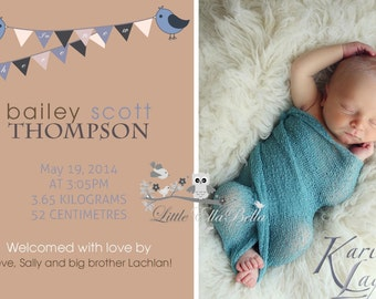 Birth Announcement/ Thank You Card Personalized Personalised Theme New Baby Boy