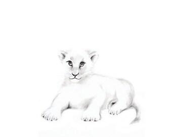 Lion Cub Art Print, Safari Nursery Art, Grey Nursery Art, Baby Boy Nursery, Pencil Drawing, Animal Print, Childrens, Nursery Art, Wall Decor