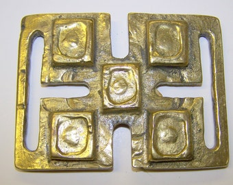 6 assorted SOLID BRASS BUCKLES