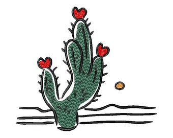 Heart, love, Valentine, cactus, machine embroidery design