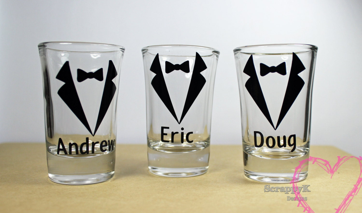 personalized bridal party wedding shot glasses for groom