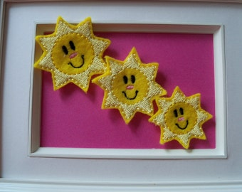 Feltie  Happy Sun 3 sizes  Your Choice Can be Clippies