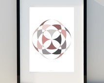 "Geometric poster ""Flower Petal Effect II"" Art for home, Poster, home, wall decor, Print Design, A2, A3 or A4"