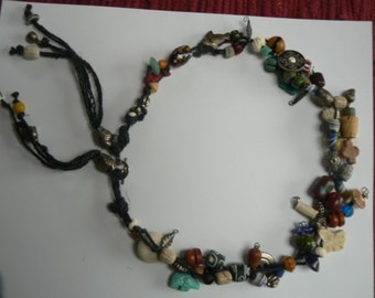 Charm and Bead Necklace on Hemp Cord