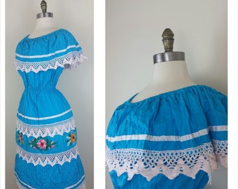 70s Gypsy Dress Turquoise Embroidered and Crocheted Off the Shoulder S/M