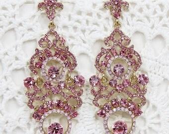Wedding Bridal Earrings Dangle Chandelier Clear Rhinestone