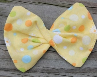 Yellow  Polka dot Fabric Hair bow clip, ponytail holder or barrette for girls, tweens,teens, adults