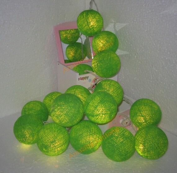 20 Lime Green Cotton Ball String Fairy by Butterflies2Lanterns