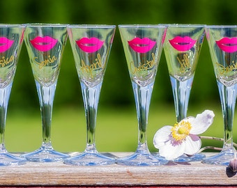 Martini shot glasses 1 oz, Bridesmaid gift, bride, red lips, king blue colors, gold, Sorority glasses. This listing is for one glass.