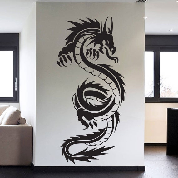 Tattoo Tribal Dragon Wall Decal Art Decor Sticker Vinyl Dragon - Custom vinyl wall decals dragon