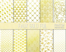 Faux Gold Foil Digital Scrapbook Paper Set of 10 - Instant Download - Metallic Finish