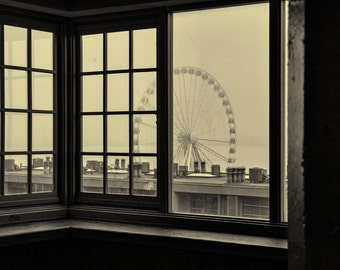 Seattle Photography, Pike Place Market, the Great Wheel, Urban, Architecture, Fine Art Black and White Photography, Wall Art, Home Decor
