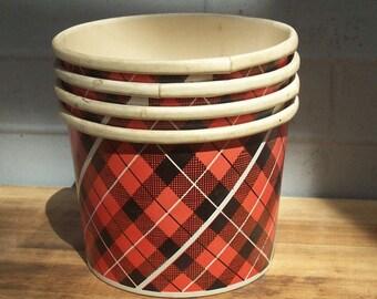 Vintage Red and Black Plaid Paper Buckets / Popcorn? / Plaid Style  / Vintage Movie  / Retro