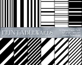 Black White Striped Digital Paper Pack, Diagonal Vertical Stripes Scrapbooking, Card Making Printable Backgrounds 12x12