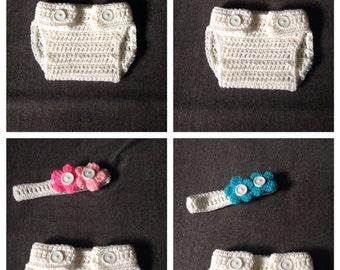 Crochet Diaper Cover and Headband Set