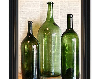 Vintage Wine Bottles dictionary art print.Home bar wall decor-Old Italian wine bottles printed on vintage dictionary paper 8x10.5 inches