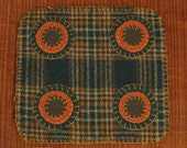 Autumn Plaid Penny Rug Candle Mat, FAAP, OFG, HAFAIR