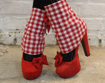 Gaiters gingham bow tie ZAWANN pin up red gingham