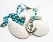 SEA BREEZE Necklace made of brass with natural stone from turquoise and with suspension Anchor, Blue, Pastel,Sea and Ocean, Nature, shell