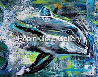 "Abstract DOLPHIN, ""Sea = MC squared"" - Original on Canvas"