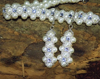 Pearl and Crystal Bracelet and Earring Set