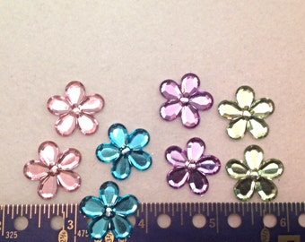 8 Jeweled, Resin Flowers, Flatbacks