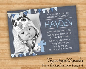 DIY Print Baby Boy Photo Baptism/Christening/Naming Day Invitations/Invites