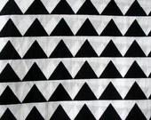 Pre Cut 1 Yard Black and White Geometric Print Cotton Fabric