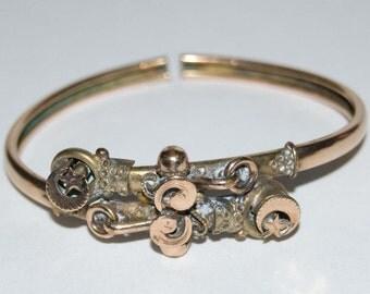 Antique Moon & Stars 12k Gold Clamper Bracelet